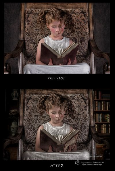 Before and after portrait image of little girl in white dress, reading a book.