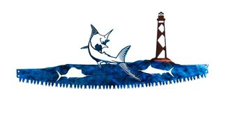 Blue marlin on crosscut saw with Cape Lookout Lighthouse Indoor or Outdoor Nautical Metal Wall Art