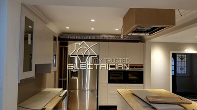 A house rewire in Cheam, Ewell by our electrical company. Here the kitchen was rewired.