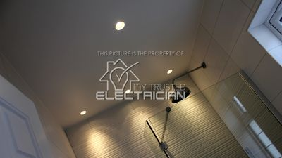My Trusted Electrician Rewired this bathroom and incorporated a professional lighting design.