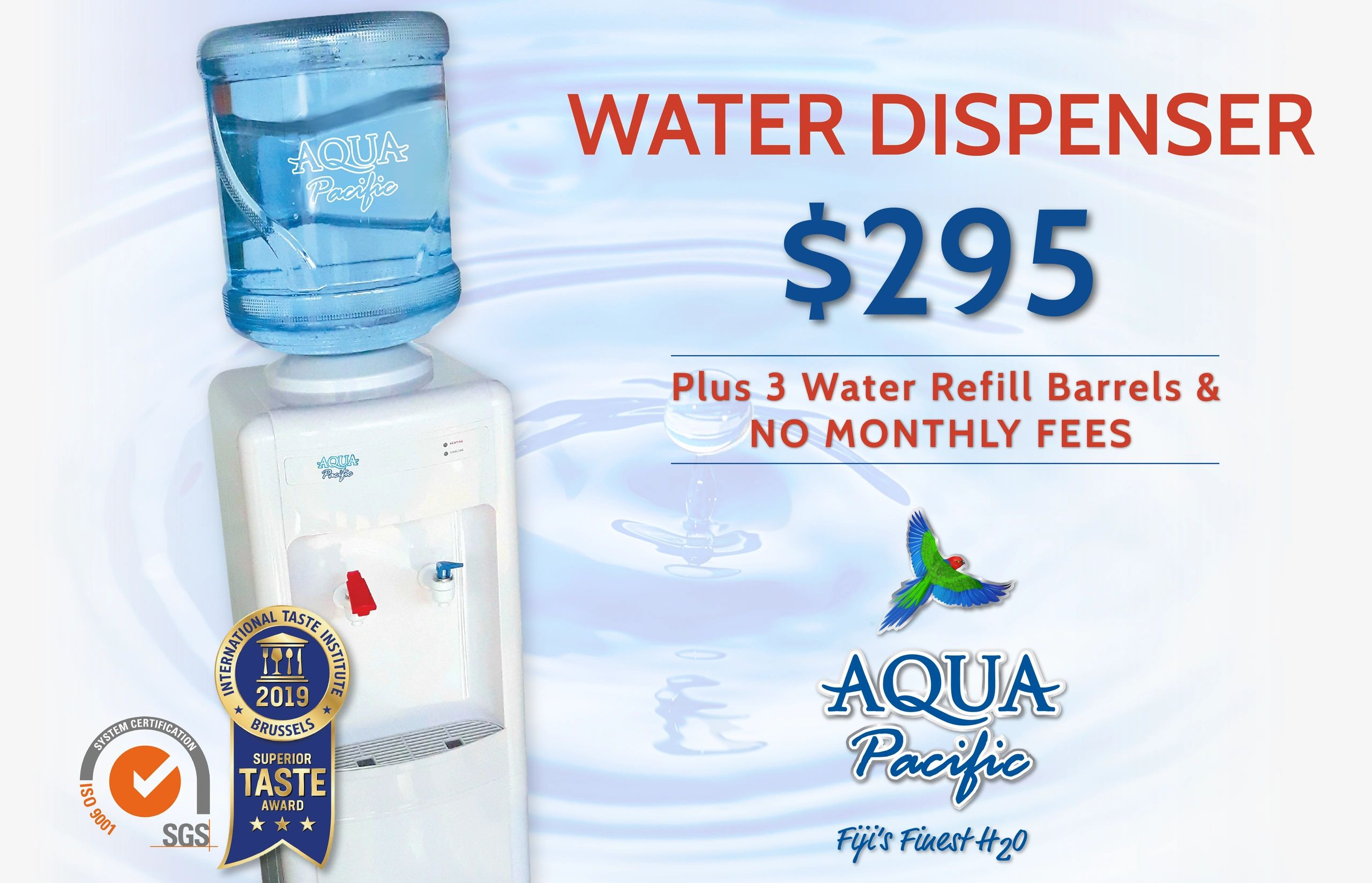 Aqua Pacific Dispenser - Natural Mineral Water on tap. Economical and convenient. Frezco Beverages.