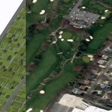 This map shows a before and after of a golf course redevelopment proposal