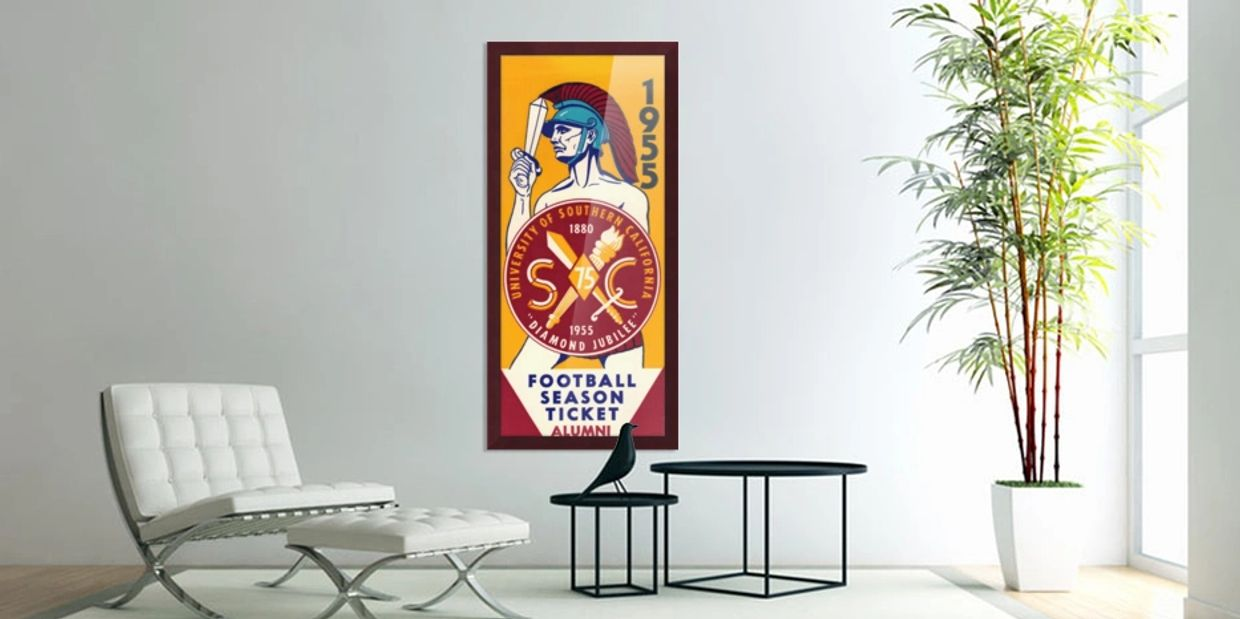 1955 USC Season Ticket Art. Row One vintage ticket stub wall art is a unique gift idea for Dad.