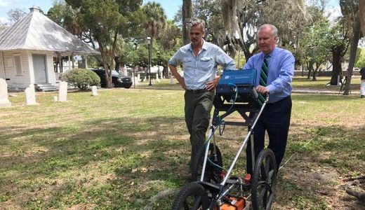Demonstrating the use of the GPR for Tampa's former mayor Bob Buckhorn at historic Oakland Cemetery.