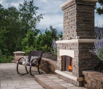 Outdoor Fireplace by Sweetwater and Belgard