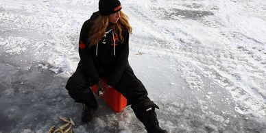 Ice fishing with Women's Hunting Association on Lake Simcoe.