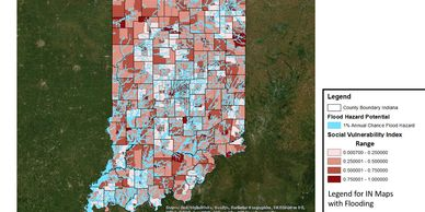 Indiana Social Vulnerability Index and 100-year flood levels