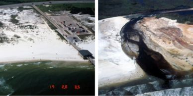 USGS pre- (left) and post- (right) Hurricane Ivan (2004) aerial photographs at Gulf Shores, Alabama