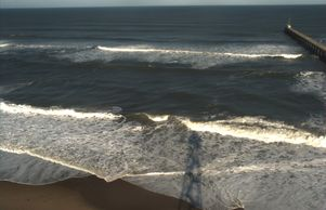 Argus image of waves breaking over sand bar at Duck, NC from camera tower (see shadow in foreground)