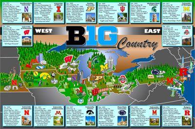 Big Ten Map Big Ten Network   Big 10 Ten Conference Big Ten Map