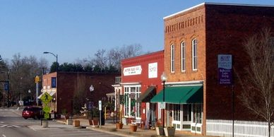 Matthews offer a charming main street with an old time look.