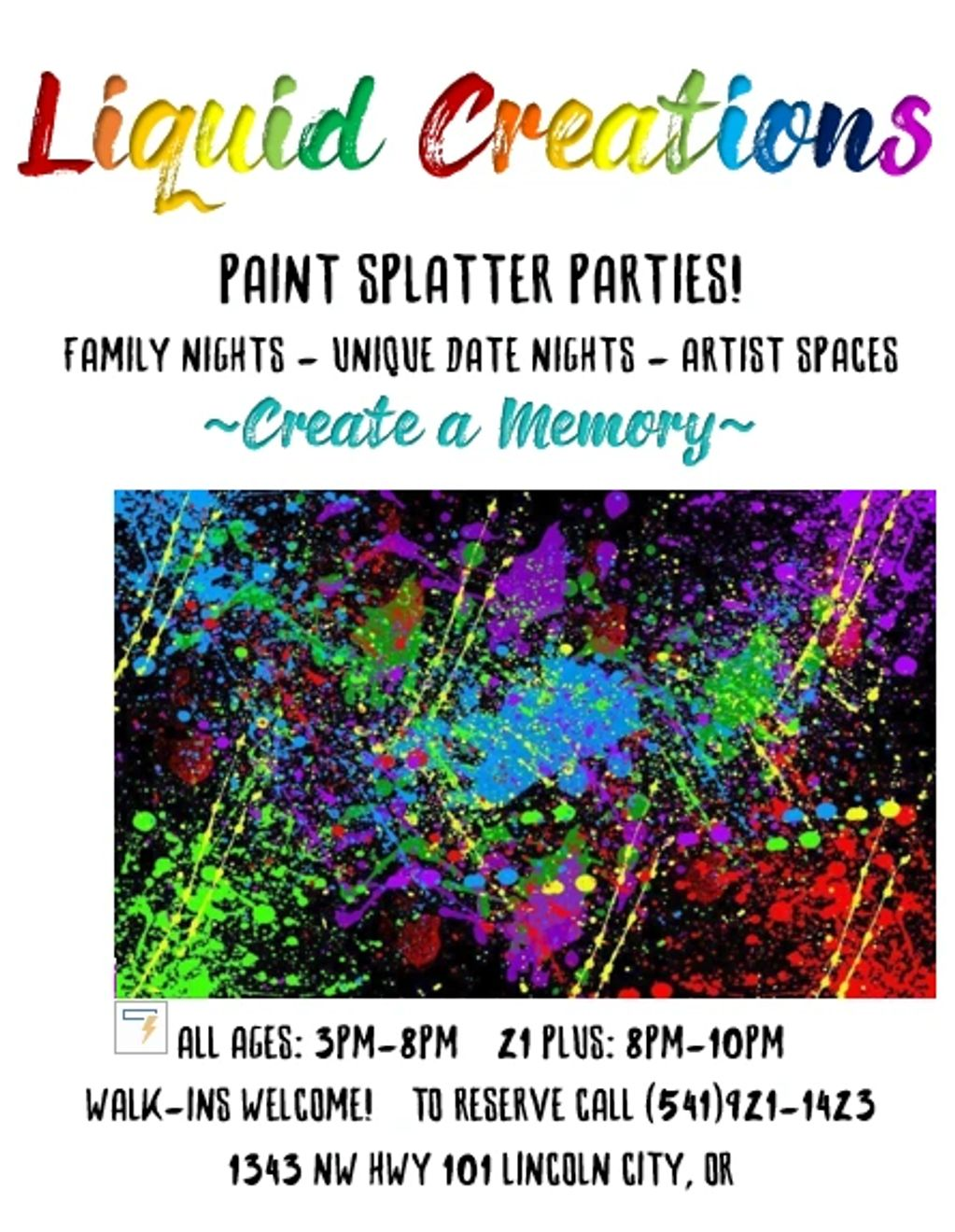 paint splatter parties, family nights, unique date nights, artist space, walk-ins welcome