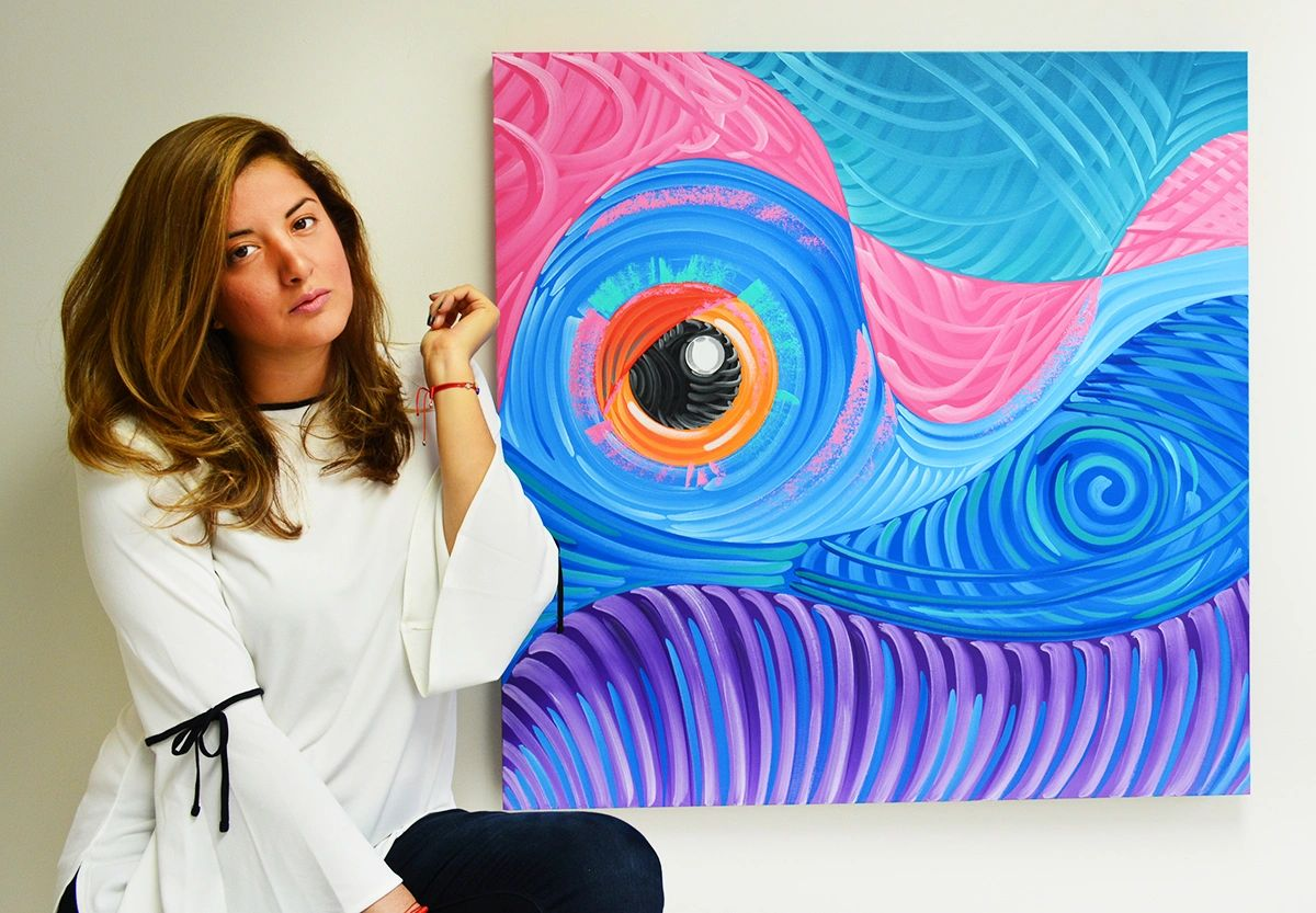 miami based artist laelanie larach with abstract paintings at laelanie art gallery