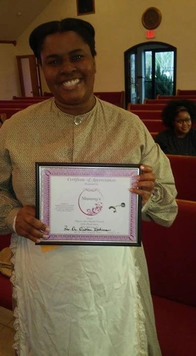 """Certificate of Appreciation"" presented by Pilgrim Rest Baptist Church. New Orleans, LA"