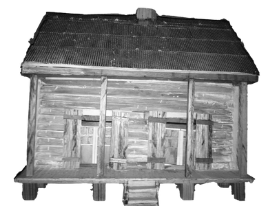 Model of slave cabin in Pointe Coupee built by Gravel Road Builders and Construction Services, LLC.
