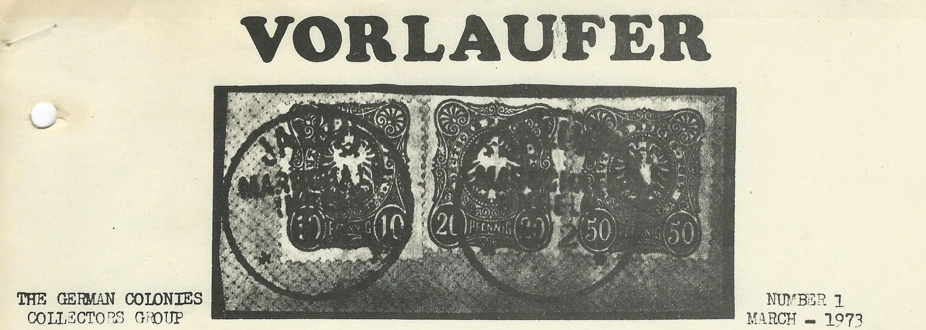 The cover page of the first issue of the Vorlaufer Journal in 1973.