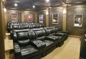 One of our custom home theaters in Kissimmee, FL
