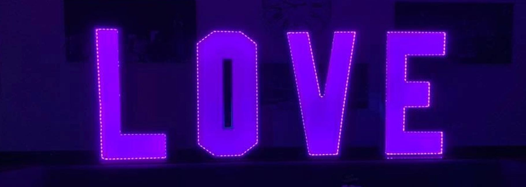 Love letters in a purple colour