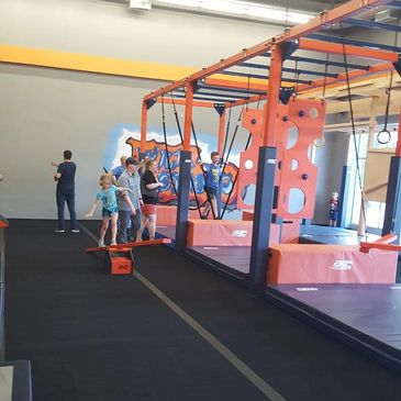 Front half of gym. Youth sized obstacles. Kids Gym. Ninja Gym. Training Class