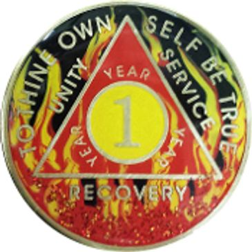 AA Coin for Sobriety and Recovery, Red Fire 1 Year