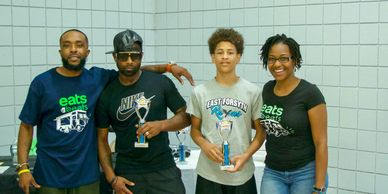 3 point and free throw shooting contest winners with Host Steve Nivens and founder Jasmine Stover.
