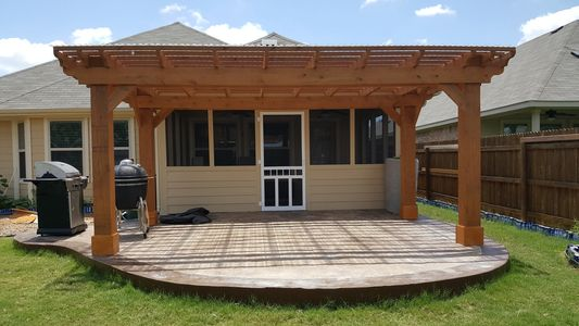 Patio enclosure, concrete patio, pergola