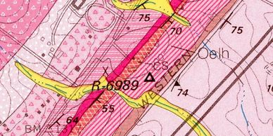 Picture of minerology map of Augusta County, VA, showing parent rocks of soils at the farm.