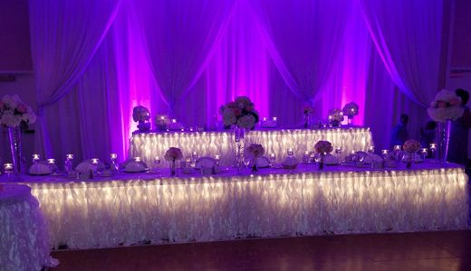 Wedding  reception set up, event  decorator  event planner,centerpieces, backdrops,ceilings drapes