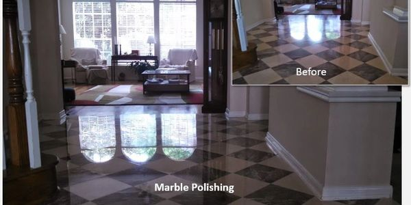 Before and after marble polishing