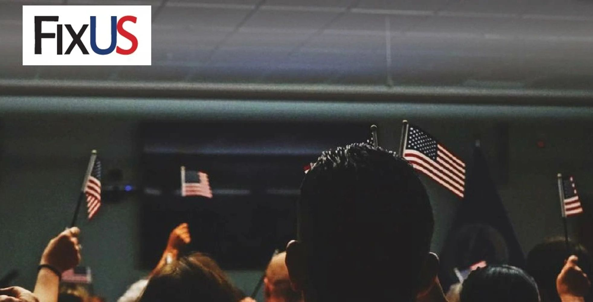 FixUS header image of people with American flags