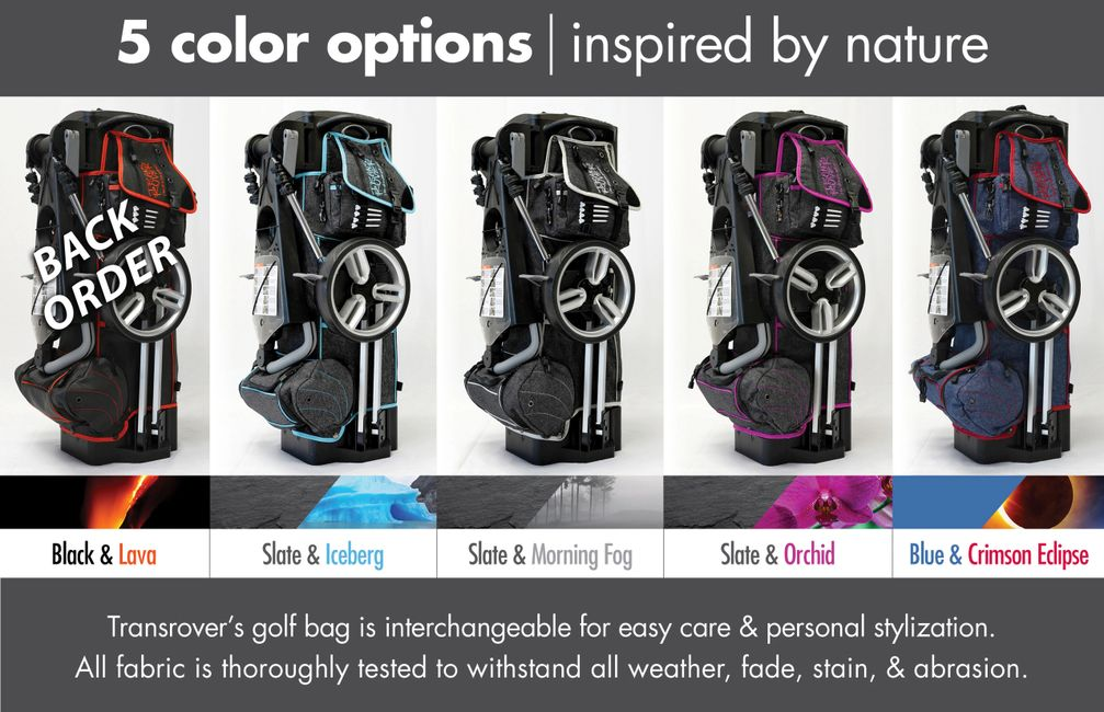 Golf bag color options for Transrover