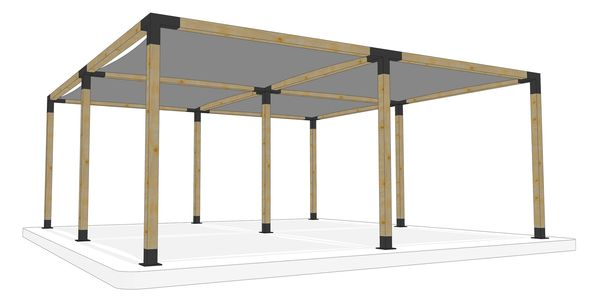 6m x 6m freestanding pergola kit by Shadeports Plus, Cyprus (Side View 2)