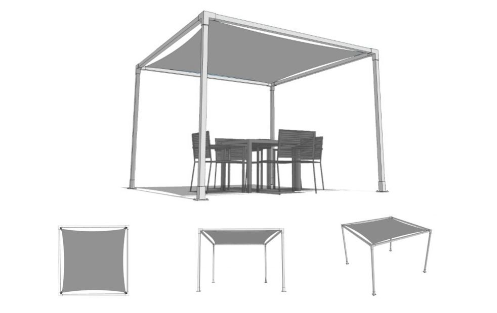 Classico cabana, part of the Summer Cabana range designed to provide patio shade by Shadeports Plus.