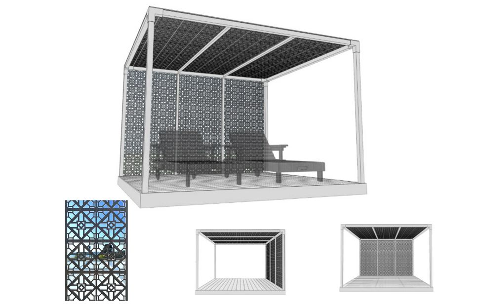 Deluxe summer Cabana designed to keep you cool and provide shade by Shadeports Plus.