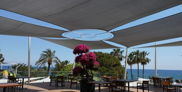 outdoor shade sail providing sun shade Shadeports Plus Cyprus.