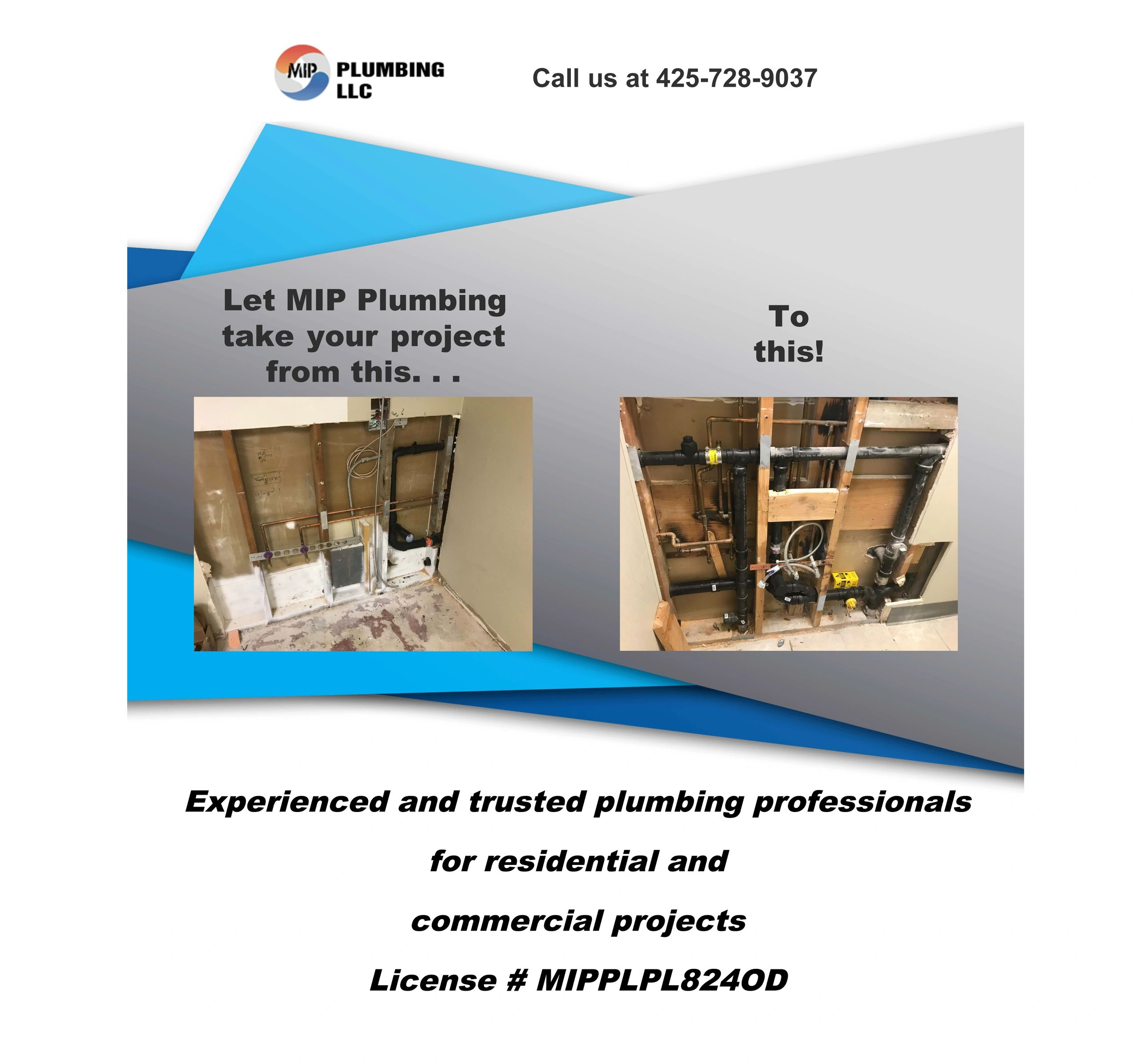 Experienced and trusted plumbing professionals serving Western Washington state. 425-728-9037