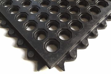 "Summit Rubber Anti-fatigue drainage mats 3' x 5' x 5/8"" Interlocking edges Vulcanized natural rubber"