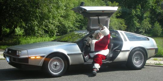 New York Santa with his DeLorean Time Machine - how else to deliver all those toys in one evening?