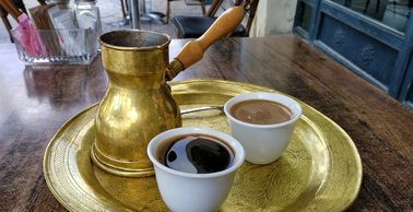 Turkish coffee serving set made with Yemen Mocha coffee