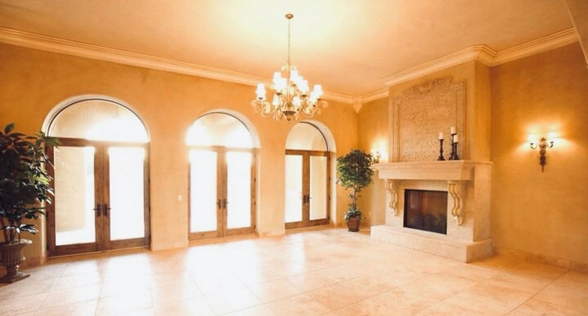 Million Dollar Luxury Living Room Marble Fireplace Chandelier