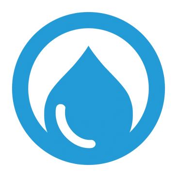 Blue CartoFront logo, featuring an encircled raindrop