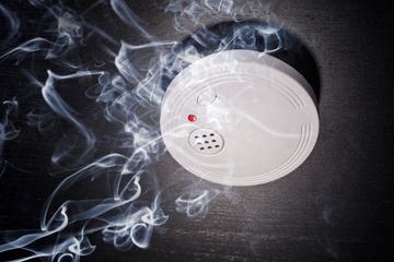 installed smoke alarm with smoke