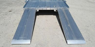 large aluminum ramps to drive your car up on, easy loading of our aluminum car hauler.