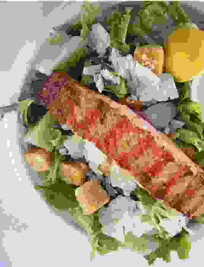 The Clam Bar at Bridge Marine fresh grilled salmon ceaser salad