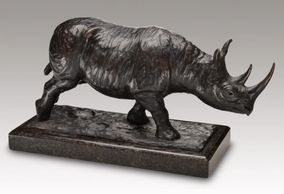 bronze black rhino sculpture