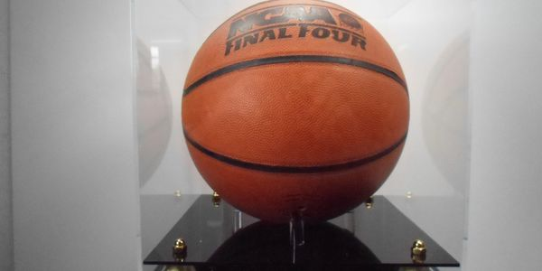 Basketball Display Case with Two Tier Gold Riser Base