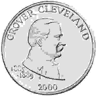 The year 2000 gold dollar featuring President Grover Cleveland.