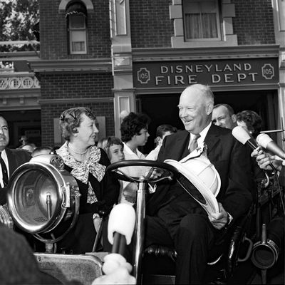 First Lady Mamie and President Eisenhower at Disneyland.