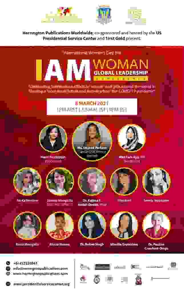 The I AM WOMAN conference poster for 2021.