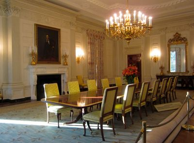 The state dining room in the White House.